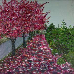 Tablou pictat Alee cu pomi toamna