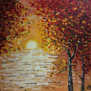 Tablou pictat Rasarit de toamna