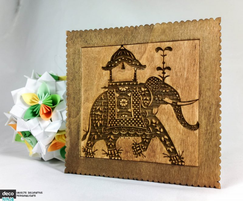 tablou elefant lemn in adancime