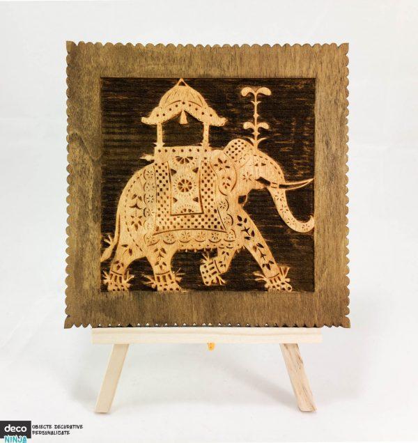 tablou elefant lemn in relief