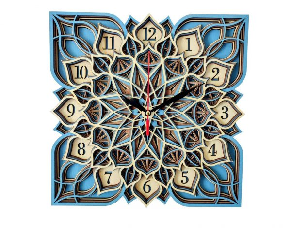 Ceas straturi patrat mandala Lotus